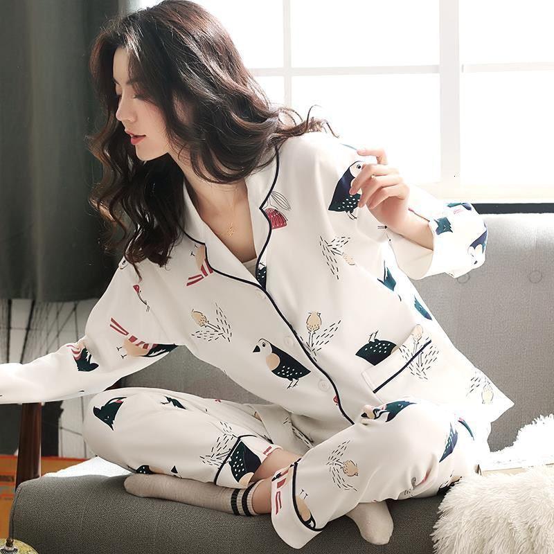 2020 Пижамы Cute Женские пижамы наборы Девушки с длинным рукавом + брюки с карманами Женщины Пижама Верхняя одежда Ночной костюм Pijama