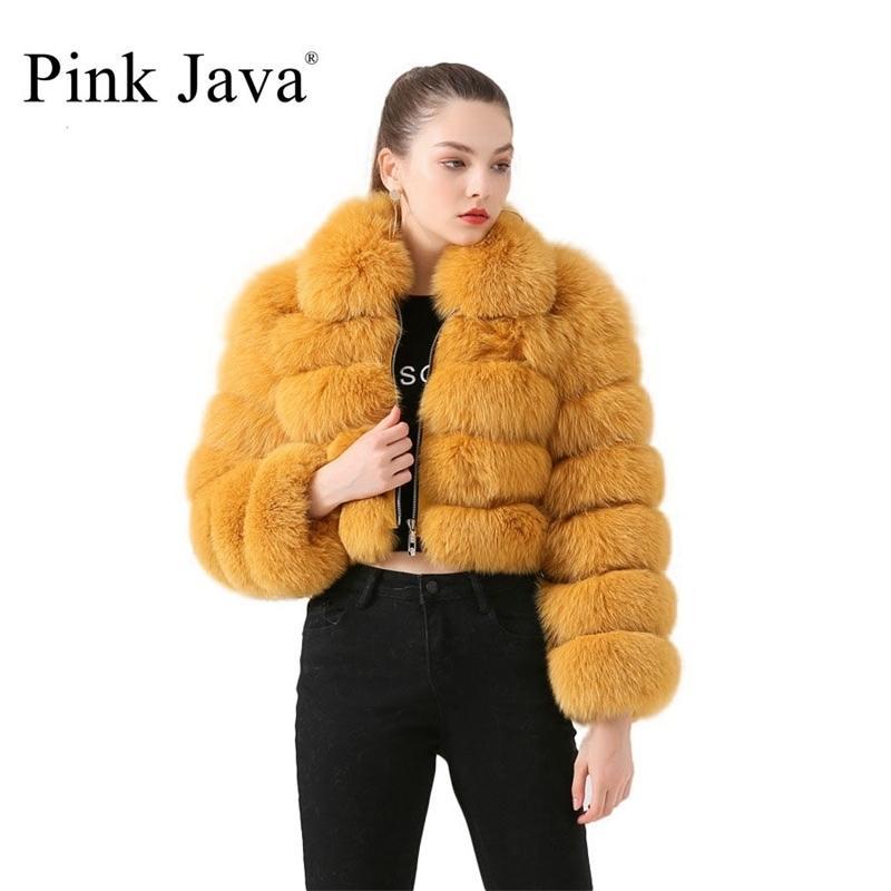 Pink Java QC19021 Nueva llegada Real Fox Coat Women Chaqueta de invierno Abrigos cortos Venta caliente Chaquetas de piel natural 201208