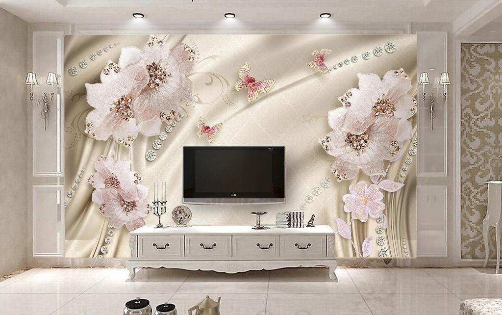 Accueil Décor non-tissé papier peint 3D chambre maison chaleureuse salle de mariage européenne papier peint salon mur de fond TV