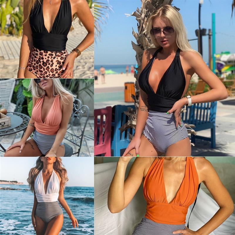 AOE plus eine Badebekleidung Größe Mesh Badeanzug Designer OneStwimwear Striped Verband Badebekleidung Große Größe Halfter Hohe Qualität Badeanzug Patchwork