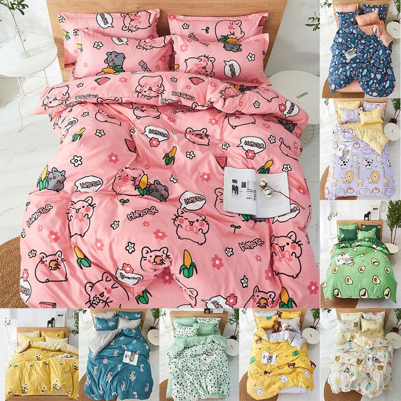 4 adet Sevimli Karikatür Çiçek Seti Polyester Ev Tekstili Bahçe Çarşaf Yorgan Kapak Yastık Kılıfı Erkek Kız Yatak