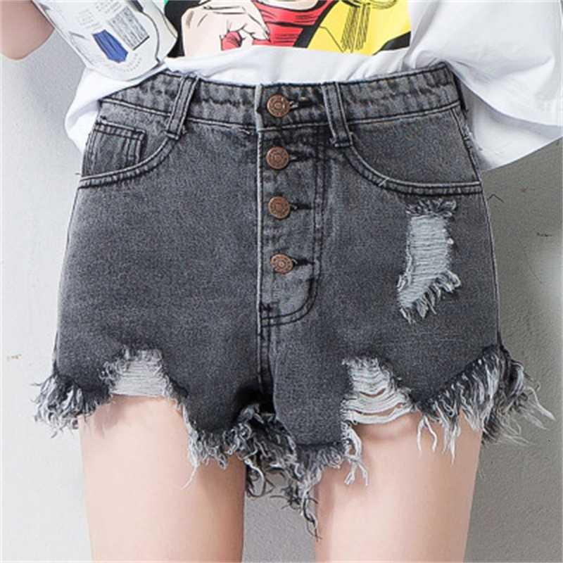 Summer New High Waisted Jeans Shorts with Holes and Rough Ees