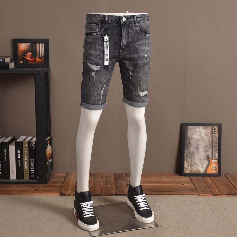 Strappato Casual Denim Shorts 2020 estate Jeans Moda grigio scuro diritta regolare knee-lunghezza Jean