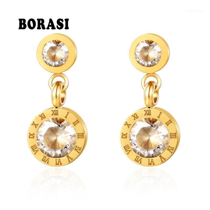 Borasi Простой темперамент Двойной круглый Золотой Цвет Из Нержавеющей стали Серьги из нержавеющей стали Римские цифры CZ Серьги для женщин1