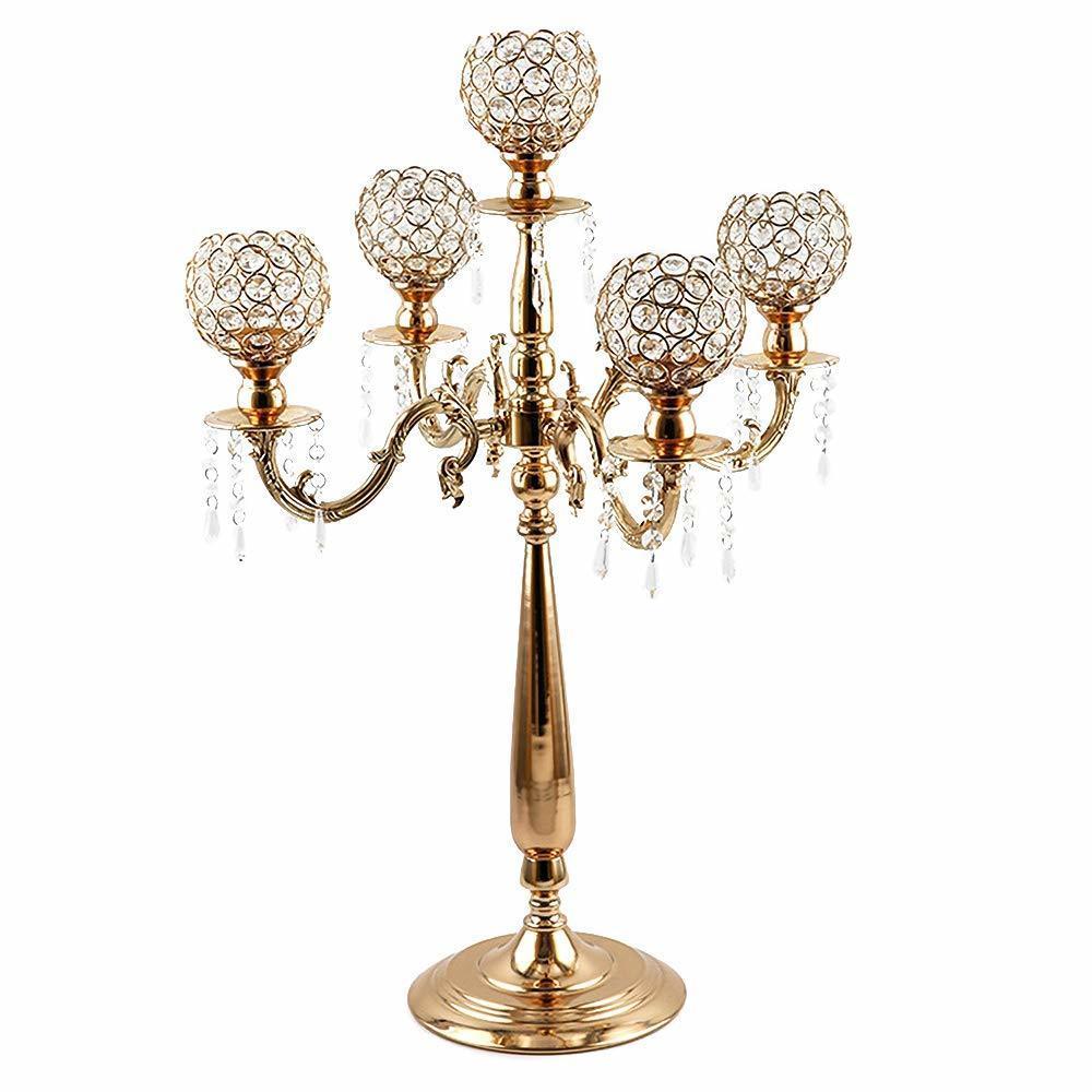 Akşam Parti Mum LJ201018 için 5 Silah Mumluk Ev Tatil Dekoratif Centrepiece Altın Kristal Mumluklar