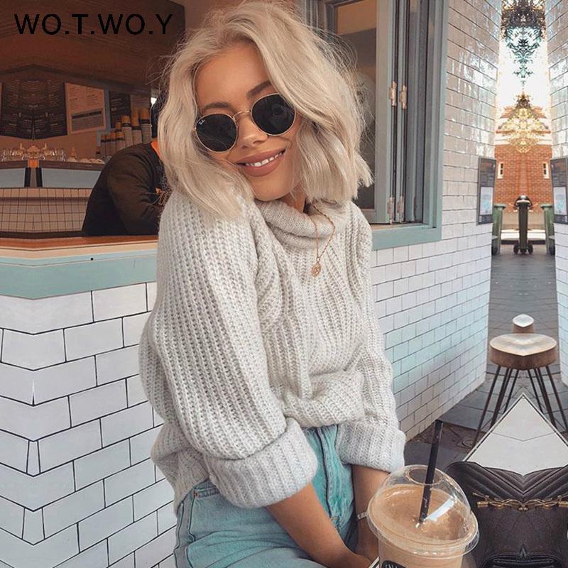 WOTWOY Herbst-Winter-Pullover mit Stehkragen Frauen Pullover Lange gestrickte Pullover Frauen lose beiläufige Pullover weiblich Pullover Cashmere 201008