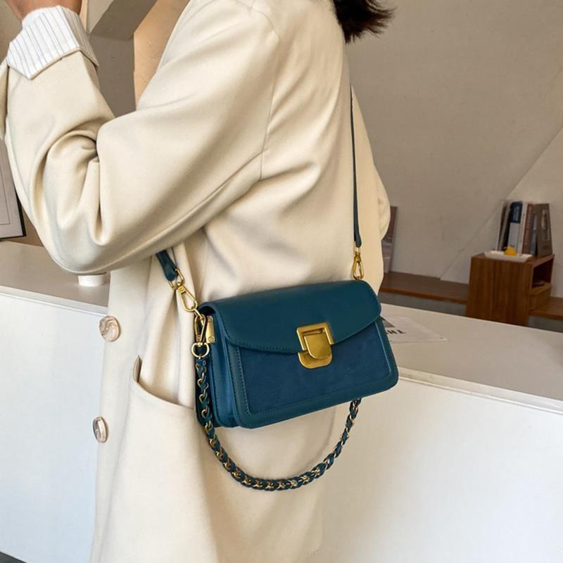 Новая мода сумка бренд замка женщин плечо PU синяя леди сращивание тумана мешок маленький для знакомства по магазинам Crossbody 2021 девушка белый nnftw