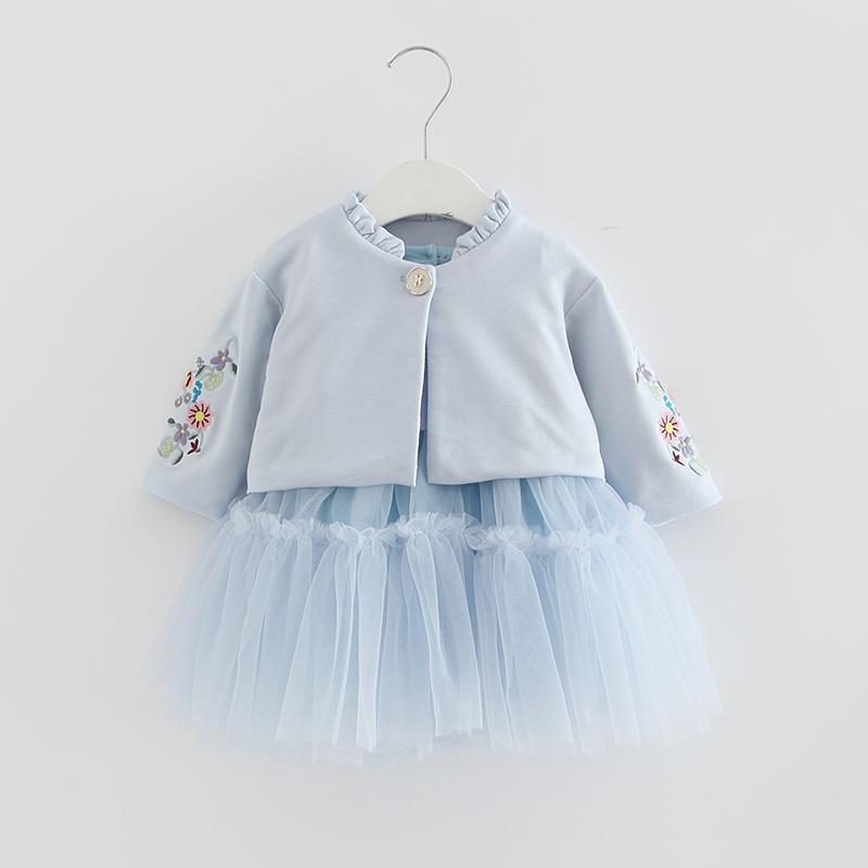 Vêtements pour enfants Automne enfants Ensembles à manches longues fleurs broderie manteau + robe de bal Robe 2PCS / Costumes Filles Vêtements Automne 0-2Y