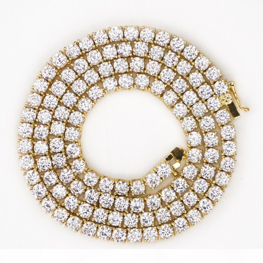 Hip Hop gefror heraus Zircon 1 Row Tennis-Ketten-Halskette Gold Silber Kupfer Material Männer CZ Halskette Link-18 20 24 30inch