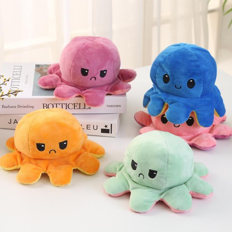 Hot 2021 Reversible Flip Octopus gefüllte Puppe Weiche Simulation Umkehrbare Plüsch Spielzeug Farbe Kapitel Plüsch Puppe gefüllt Plüsch Kind Spielzeug