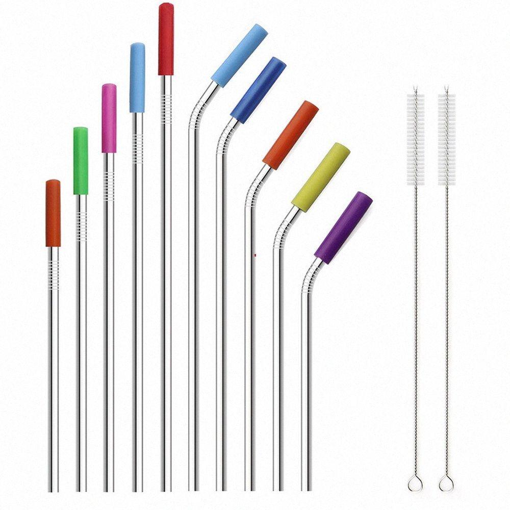 100pieces Toptan Gümüş Metal Straw 304 Paslanmaz Çelik İçme Pipetler Bent Düz Yeniden kullanılabilir Silikon Kapak Temizleme Fırçası 48sF #