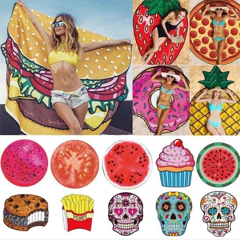 Moda Ananas Anguria Donuts Mandala Telo Round Tower Extra Large YOGA Picnic Mat 19 Stile