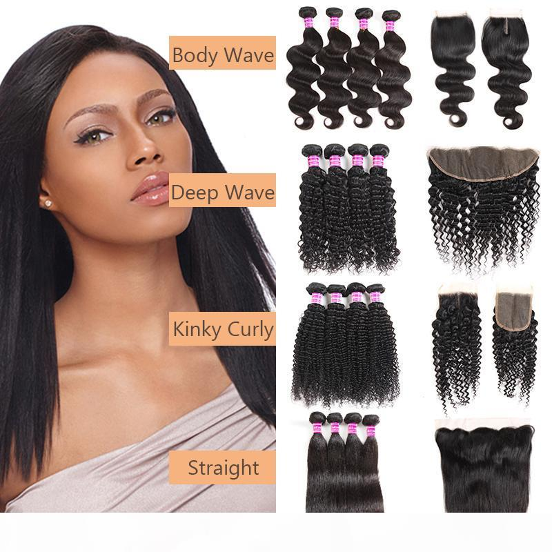 Straight Brazilian Virgin Hair Bundles With Closure Body Wave Human Hair Weaves Deep Wave Bundles with Frontal Hair Extensions Free Shipping