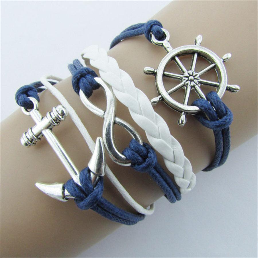 Großhandel-neue silberne armbänder schmuck nautical ruderanchor blaues leder seil armreif armband a1
