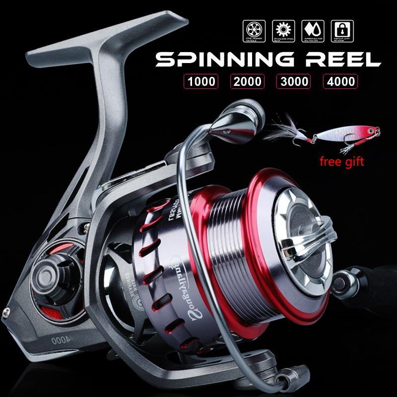 SOUGAYILANG 9 + 1BB Alimentador Spinning Reel de pesca 5.2: 1 / 6.2: 1 Relación de engranajes de alta velocidad Cola de aluminio Carrete de pesca de carpa de agua dulce 201120