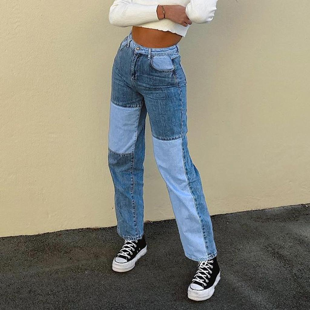 High Waist Loose Comfortable Jeans For Women Plus Size Fashionable Casual Straight Pants Mom Jeans Washed patchwork Jeans#3 201029