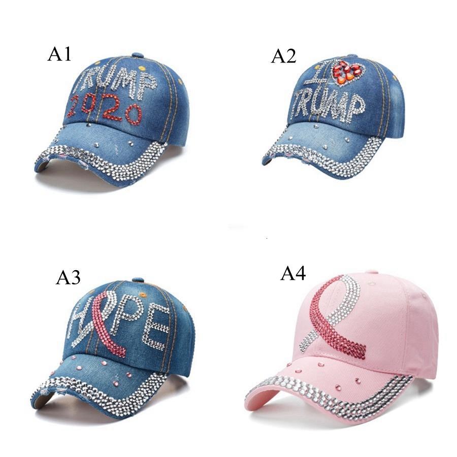 Trump Baseball 2020 USA Election Campaign Hat Cowboy Cap Adjustable Snapback Women Denim Diamond Hats Sea Shipping DDA481