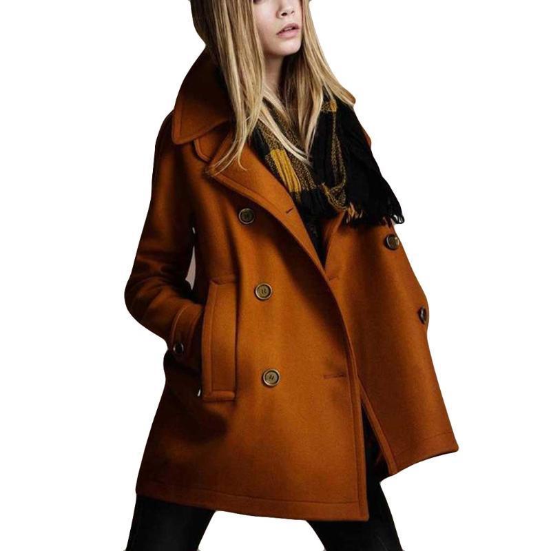 CHAMSGEND las mujeres del invierno abrigo de lana chaqueta de color sólido Otoño Invierno Moda bolsillo de manga larga botón de la Mujer Oficina de señora Coat