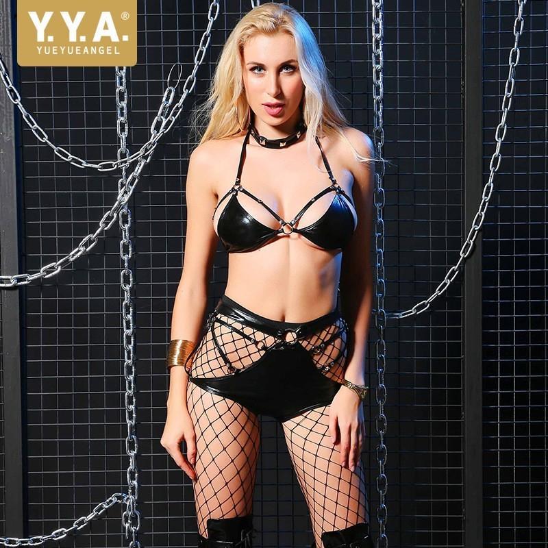 Heiße Verkaufs-europäische Erotische Frau Art und Weise Niet-Gurt-Leder-Wäsche-Satz Heiße Art Nachtclub Stripper Outfit Set