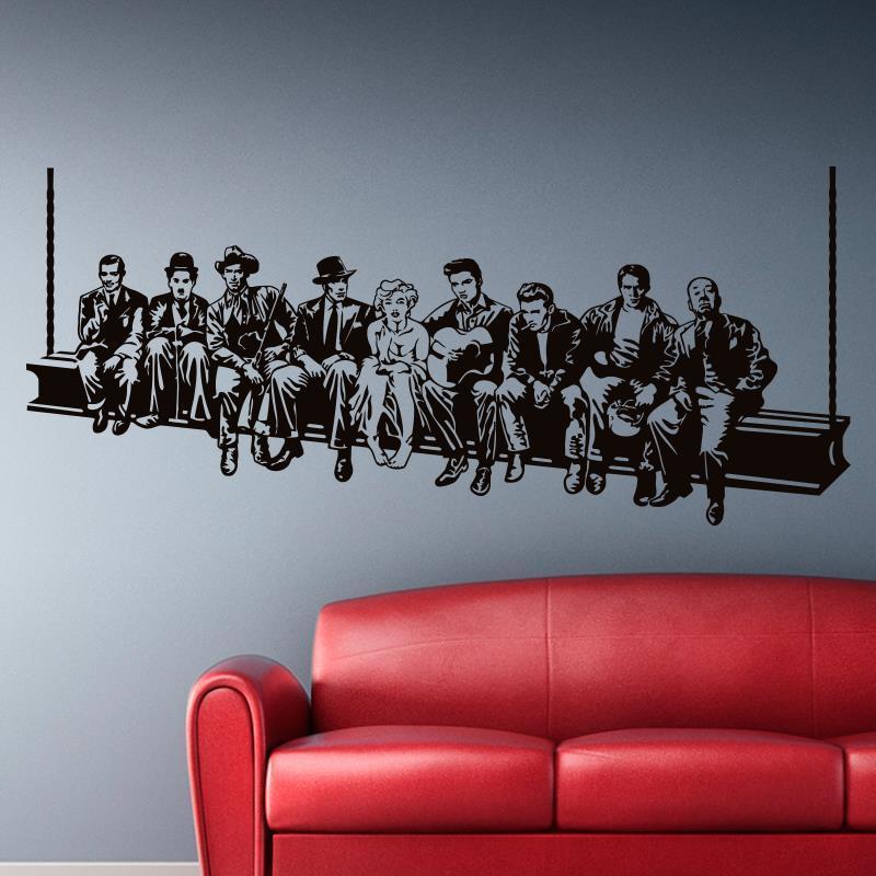 Hollywood Almuerzo Etiqueta engomada de la pared estrella de la película Calcomanías de la pared Estilo americano Decoración del hogar Mural Decoración de la casa para la sala de estar o el dormitorio 201201
