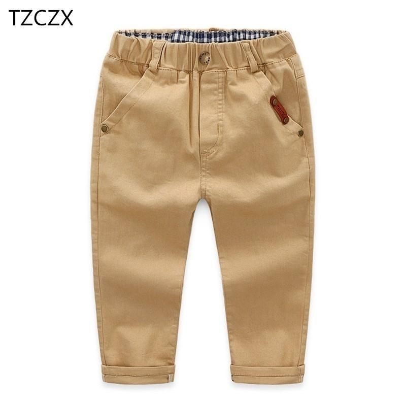 Горячие детские брюки повседневные твердые хлопковые эластичные талии штаны обычный стиль мальчика в течение 3-12 лет носить T200103