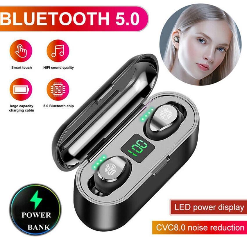 Écouteur sans fil F9 TWS Bluetooth V5.0 Edrombs Bluetooth Headphone LED Affichage avec le casque de banque de puissance de 2000MAH avec microphone MQ30