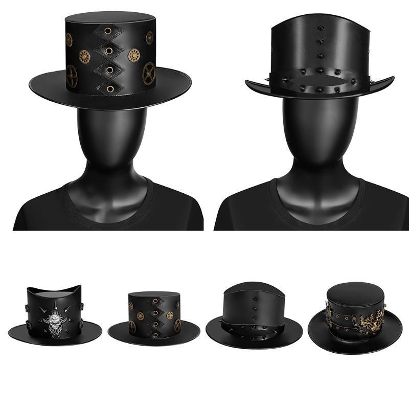 Zauberer Zylinderhut Leder Steampunk Partei Caps Weinlese-Kostüm Zubehör