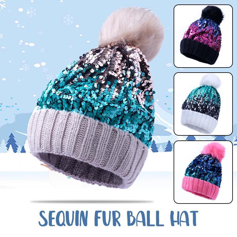 Зимняя теплый меховой мех POM POM вязаные шапки женщины блестящие блестки зимние моды шапочки шапки толстые теплые черепочки шапочки