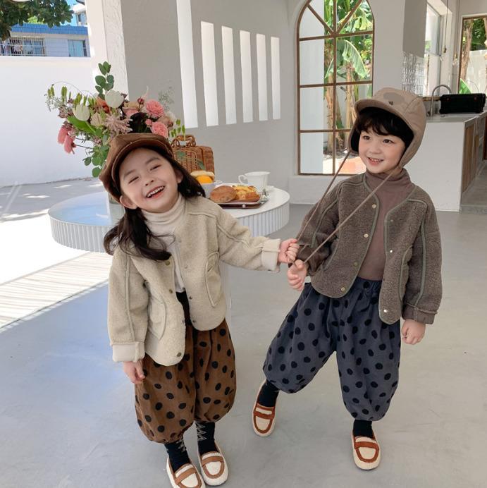 Sonbahar 2020 moda erkek ve kız sıcak ceketler Kore tarzı çocuk gündelik kat 0927 gevşek yün