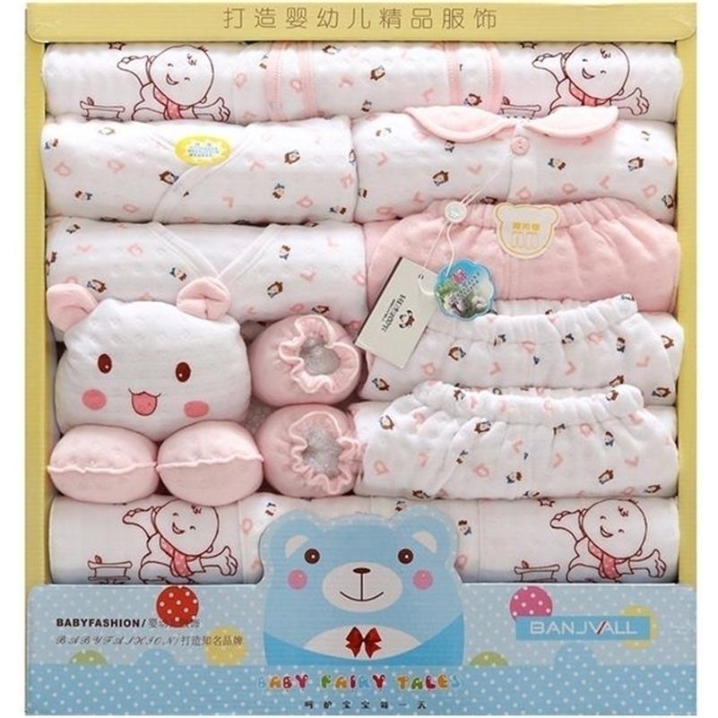 18 pz / set cotone neonato neonato vestiti autunno inverno inverno bambino abbigliamento set cartone animato stampa nuovo nato bambino vestiti abbigliamento regalo 201022
