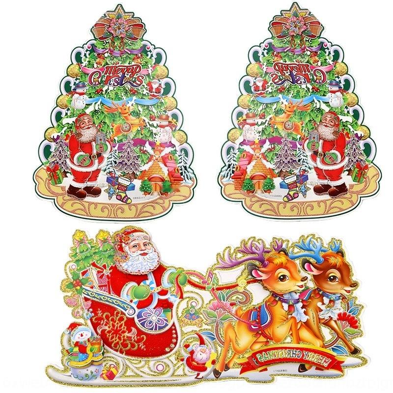 8kSmf Noel duvar üç boyutlu 2 Wall'in stickercar stickercart çıkartmalar çıkartmalar adet hediye altın tozu ait dekoratif Noel geyik