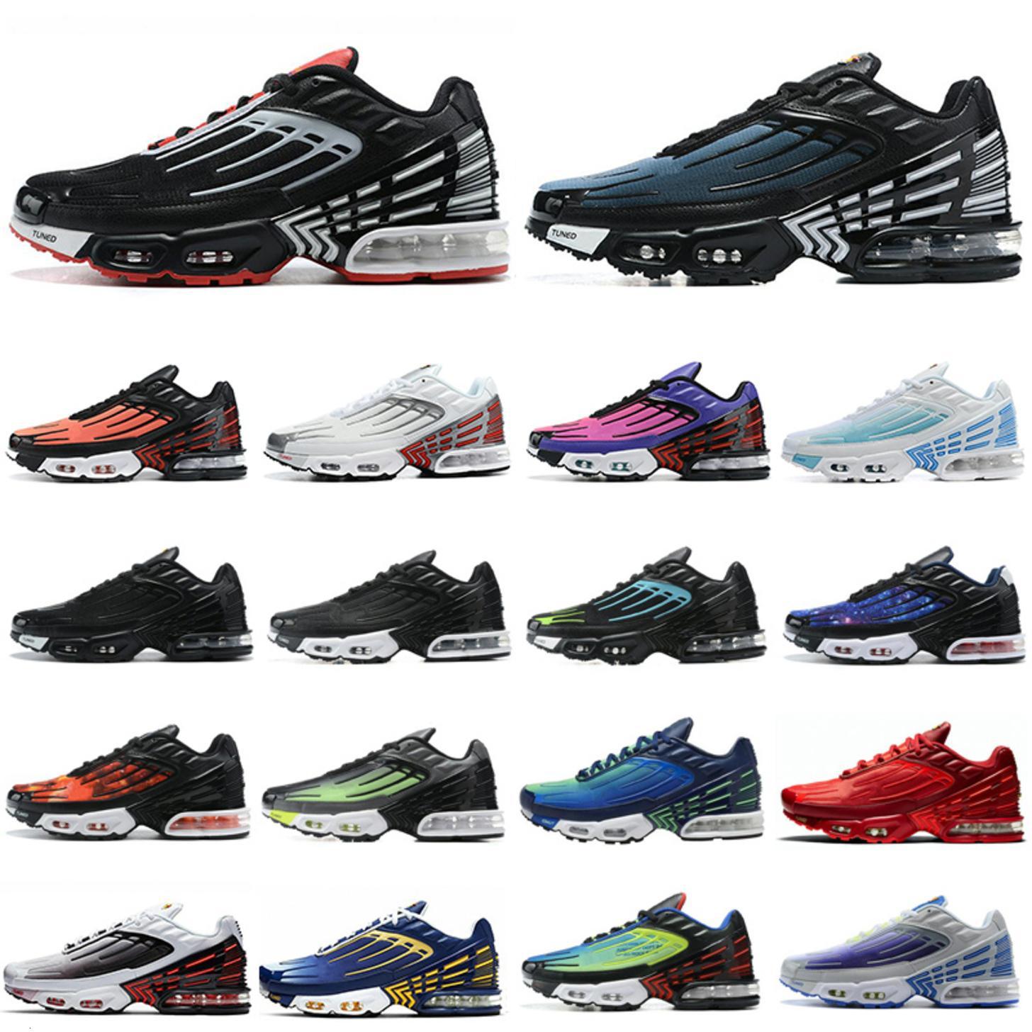MENS TN 3 ZAPACIONES CONVIERTAS HYPER VIOLET TN PLUS 3 III Triple Black Silver Sunset Formas para mujer Zapatillas de deporte Chaussures 36-45