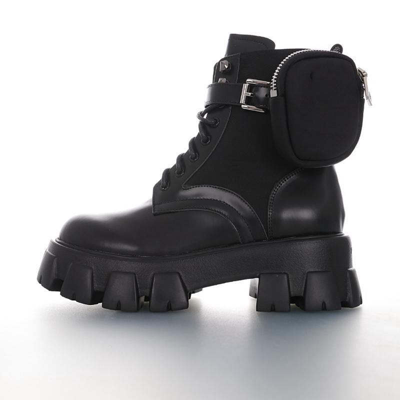 Prada boots Progettista Oblique Explorer Stivaletto alla caviglia per le donne in pelle di vitello Leadther Martin piattaforma stivali invernali stivali invernali Top Sneakers