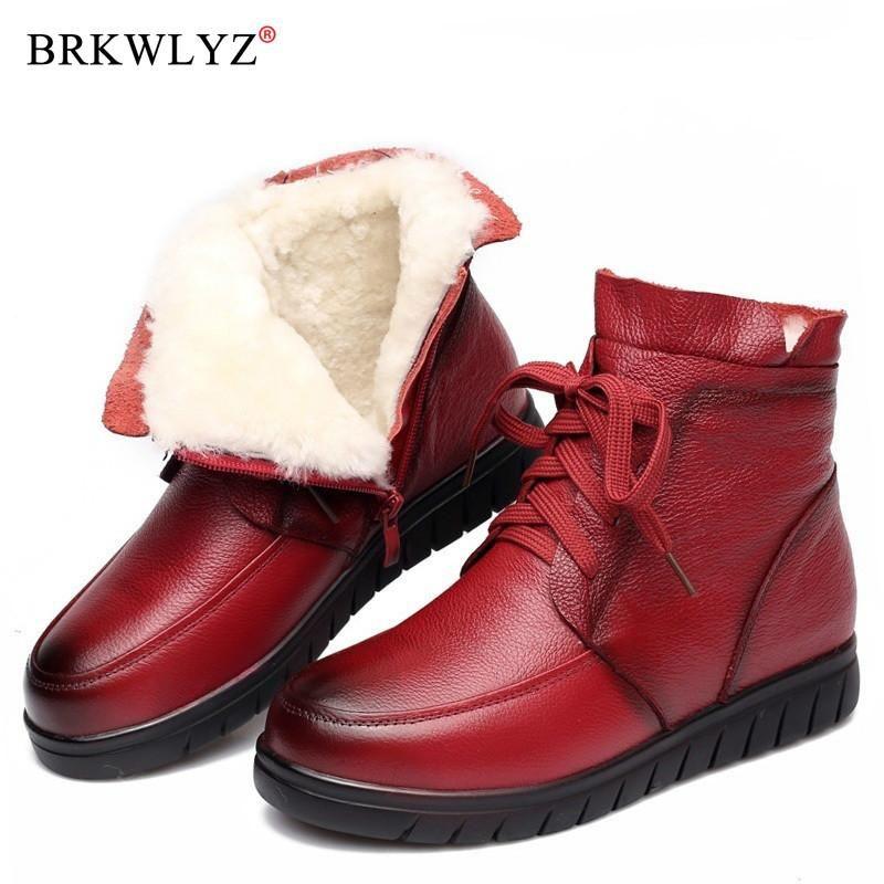 2020 Mujeres Botas de nieve Vintage Cuero genuino Piel de Lana Natural Invierno Botas de Tobillo Cálidas Para Mujeres Pisos Planos Zapatos