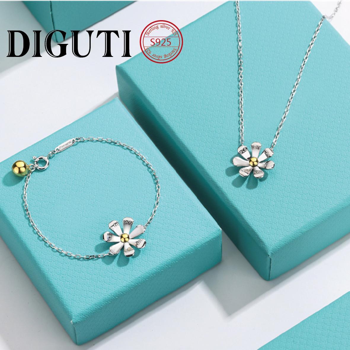 Collana TIFF daisy collana originale gioielli doppio cuore 925 sterling argento pendente blu rosa catena di clavicola