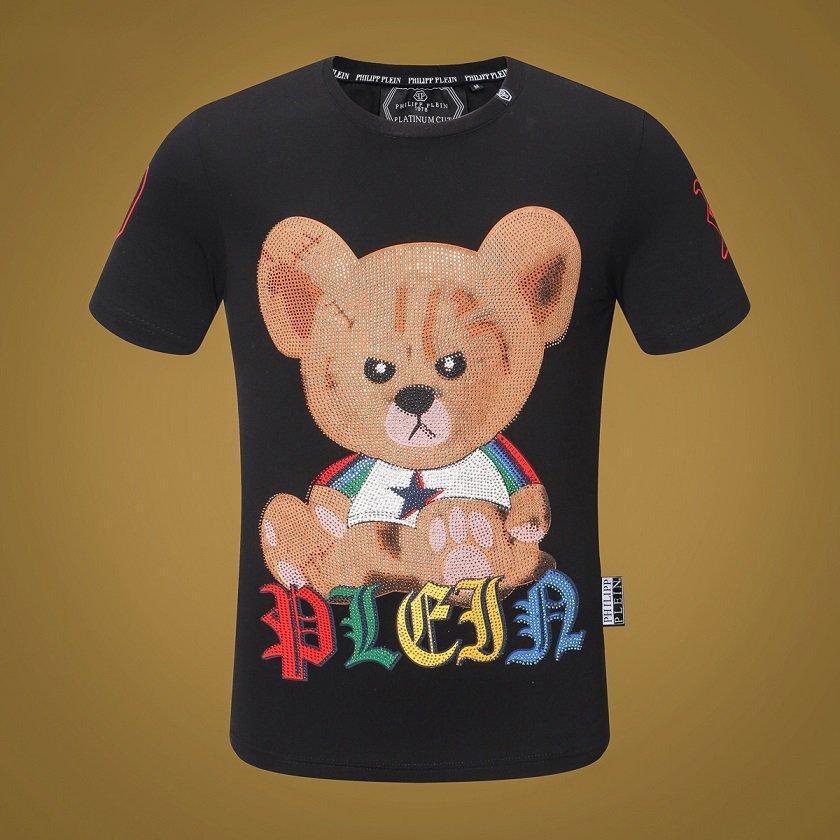 Les nouveaux hommes d'ours mignon de bande dessinée et les femmes T-shirt col rond tendance mode ours mâle à manches courtes imprimé mâle col rond T-shirt