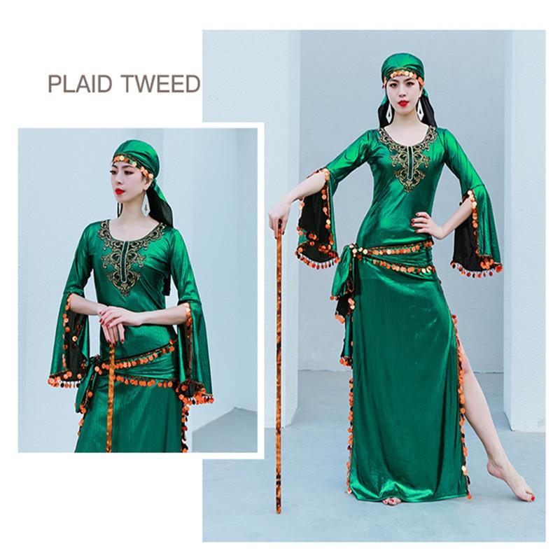 Disfraz de danza del vientre egipcio Sequin Saidi Vestido Baladi Galabeya Fallahi Abaya Stage Performance Show Wear 4 pieza Set 2021 Nuevo