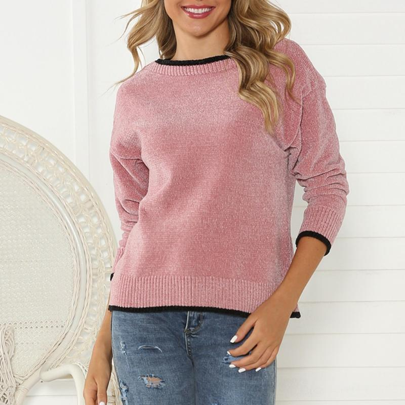 Patchwork Fashion Women Sweater Long Sleeve Casual Loose Pullover O-Neck Sweaters Tops Warm Brief Solid Casual Tops F8261