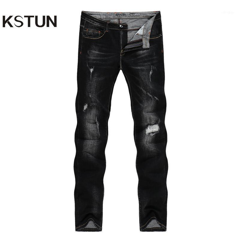 KSTUN Black Jeans Men Distressed Patchwrok Frayed Ripped Jeans for Man Autumn Winter Biker Streetwear Hiphop Denim Pants1