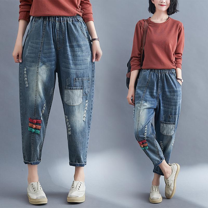 Свободный Свободный Wide Leg мешковатые джинсы Женщины Осень пят Плюс Размер Разорванные мама джинсы стрейч эластичный пояс Гарем Джинсовые брюки