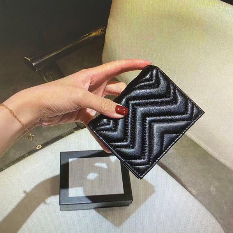 Top qualité Mode Marmont Wallet Card Case Femmes Porte-monnaie en cuir Mini poche matelassée court Portefeuilles carte principale crédit d'embrayage Titulaire