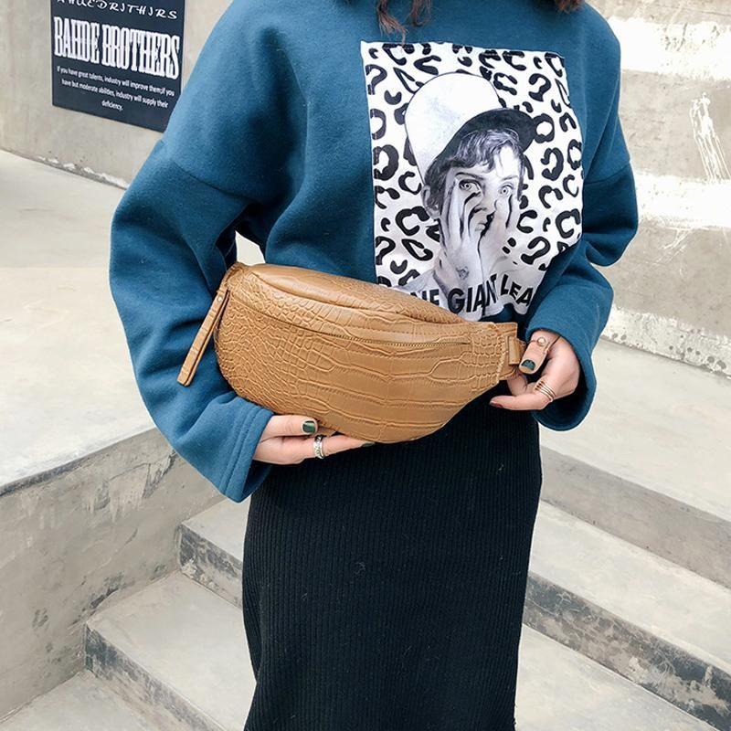 Patrón de piedra de la cintura Patrón de piedra Hombro de la cintura de las mujeres Bolsa de la nueva calidad Paquetes de pecho Cinturón de cuero High Fanny Handbag NXXKS