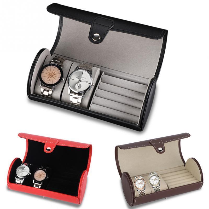 Custodia portatile per orologio da viaggio Roll 2 Slot Box in orologio da polso STOCCAGGIO STOCCAGGIO Scatola anello anello orecchini da polso orologio gioielli deposito scatola regalo