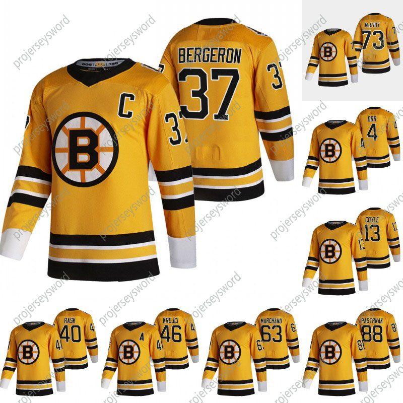 2021 Ters Retro 37 Patrice Bergeron Jersey ile C yama Boston Bruins Taylor Hall David Pastrnak Tuukka Rask David Krejci Brad Marchand Charlie McAvoy Formalar