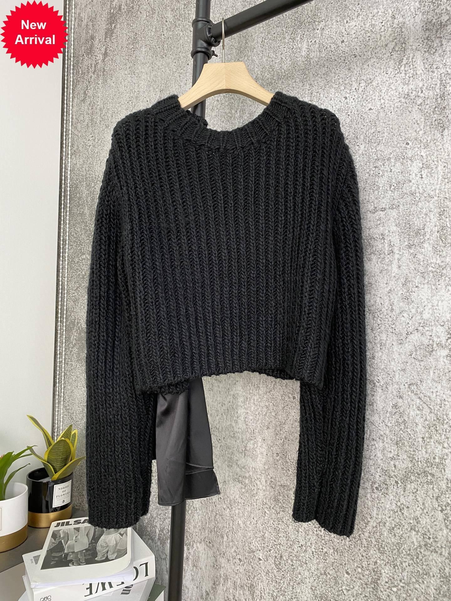 2020 новые дамы мода с длинным рукавом сексуальный повседневный сплошной цвет задний лук свитер 121946GZ