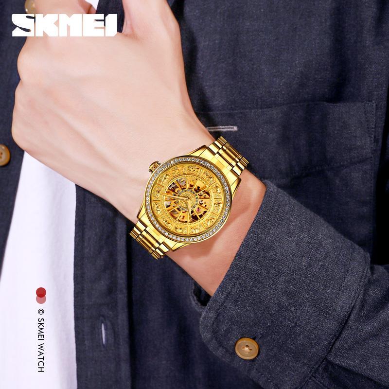 Marke skmei automatische uhr männer mode luxus quarzuhren business kleid armband herren uhr edelstahl armbanduhren