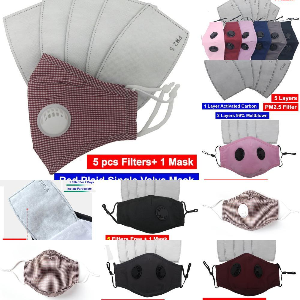Фабрика 5 шт. PCS PM2.5 Фильтры 1 Бесплатная доставка Взрослый Хлопок Многоразовый моющийся с активированным углеродным фильтром Маска для лица 9 PHW8H