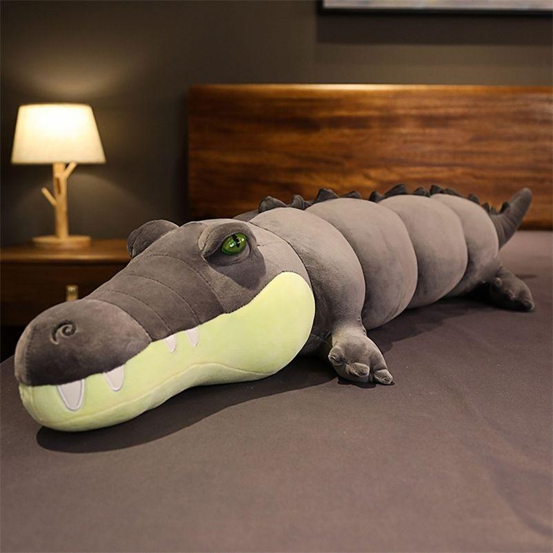 Alclado animal real vida jacaré pelúcia brinquedo simulação crocodilo bonecas kawaii ceetive travesseiro para crianças presentes Xmas 201222