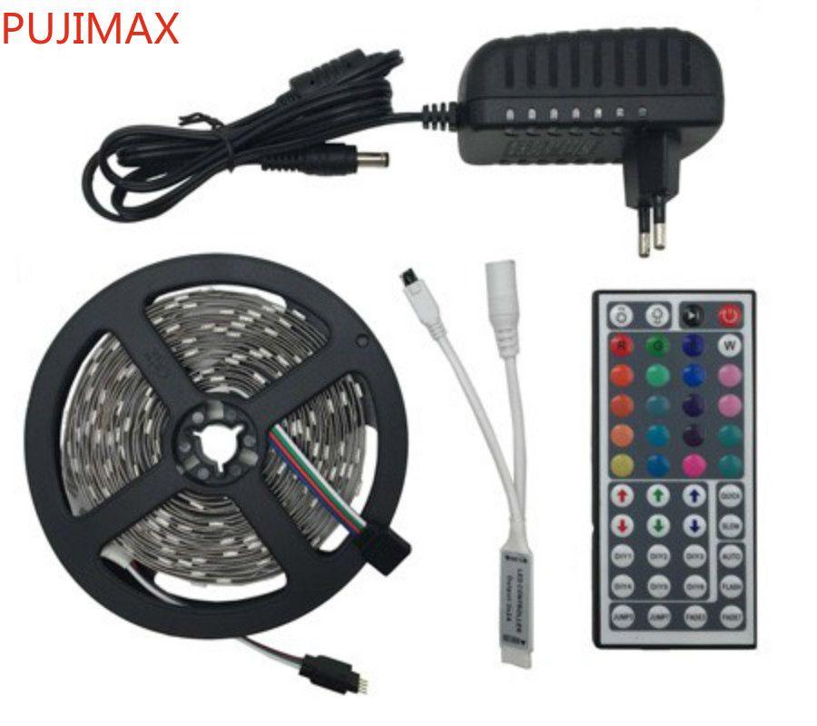 100m Su Geçirmez SMD 5050 RGB LED Şerit Işık 30LEDS / M 5 M Esnek Tiras LED Bant + 44key Uzaktan Kumanda + DC 12 V Güç Adaptörü