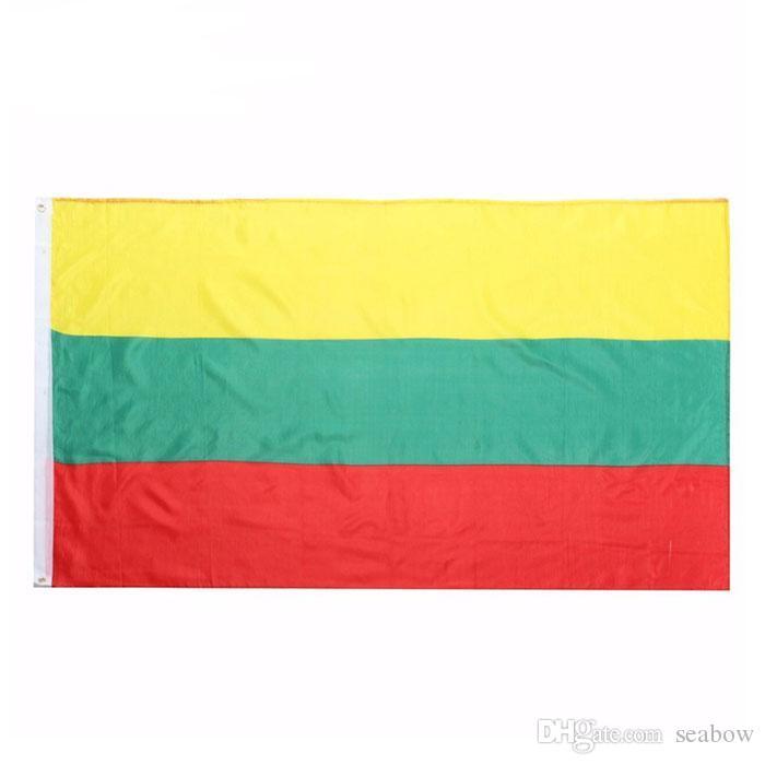 Litauen Flagge Qualitäts-3x5 FT nationale Fahne 90x150cm Festival-Party-Geschenk 100D Polyester Indoor Outdoor Printed Flaggen und Banner